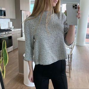 ZARA tweed boucle gray crop top mock neck